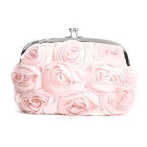 Soft Floral Evening Bag with Pink Roses Beauty