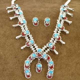 Native American Zuni Indian EFFIE C Turquoise Coral Squash Necklace