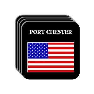 US Flag   Port Chester, New York (NY) Set of 4 Mini Mousepad Coasters