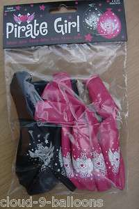 Pk of 8 Pirate Girl Black & Pink Balloons Air Fill Only 8714572059053