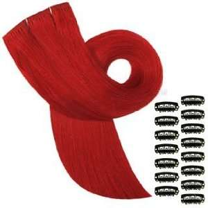 Diy Set Colour Bright Red, Human Hair Extensions Plus 15 Clips To Make
