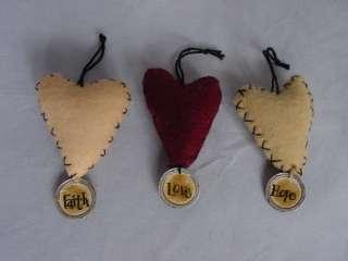 Mini HEART Valentine Ornament wTags Faith Hope Love 6pc