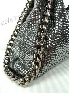 STELLA MCCARTNEY Falabella Silver Studded Black Faux Suede Chain Tote