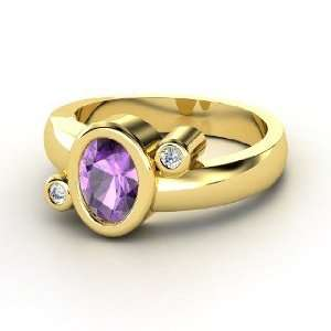 Planets Ring, Oval Amethyst 14K Yellow Gold Ring with