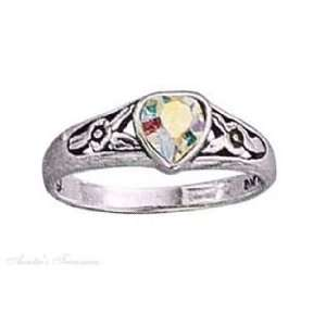 Sterling Silver Aurora Borealis Crystal Heart Ring Size 8