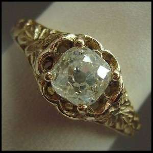 Antique 1.00 CT Old Mine Cut Diamond Jewelry 14K Gold Filigree