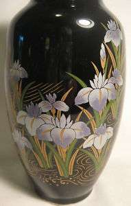 Vintage Black *Hand Painted* Vase~Japan~Gold~8 14