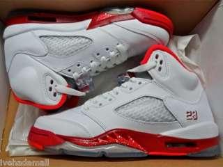 Jordan 5 V Retro Sz 3.5 Y GS White Scarlet Fire Red 440892 101