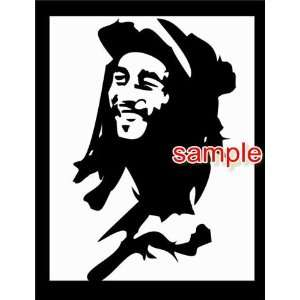 BOB MARLEY HAT WHITE VINYL DECAL STICKER