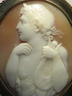 GOLD NATURAL CARVED SHELL CAMEO PIN BROOCH ORPHEUS LYRE c1880