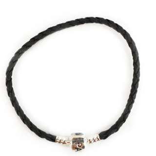 Authentic Charm Of Fashion Black Leather Bracelet 7inch
