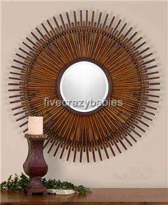 Large Bamboo Sunburst Starburst Wall Mirror XL Asian Oriental Oversize