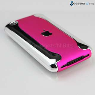Stylish Hot Pink / CHROME Dual Hard Case Cover Bumper for Apple iPhone