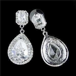 Bridal Teardrop Rectangle Swarovski Crystal Pierced Chandelier Earring