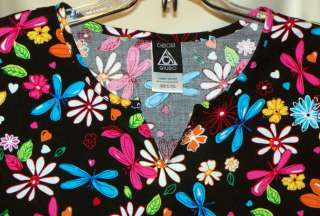 Womens CHEROKEE SS Butterfly Print Cotton Scrub Top Nurses Medical L