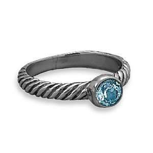 Oxidized Sterling Silver Ring, 5mm Blue Topaz Jewelry