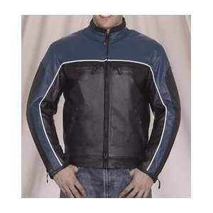 Black & Blue Leather Motorcycle Racing Jacket Automotive
