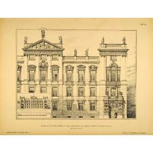 1890 Print Clam Gallas Palace Front Prague Architecture