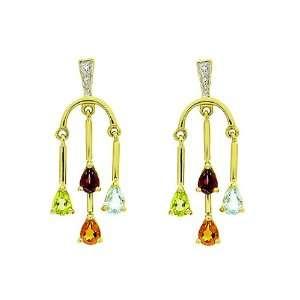 9ct Yellow Gold Multi Gem Drop Earrings Jewelry