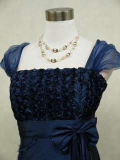 Satin Dark Blue Rose Ball Gown Wedding/Evening Dress UK 18 22