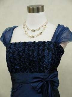Satin Dark Blue Rose Ball Gown Wedding/Evening Dress UK 18 22