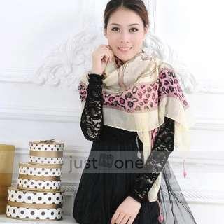 Chic Women Ladies Girls Cotton Flax Leopard Scarf kerchief Shawl Wrap