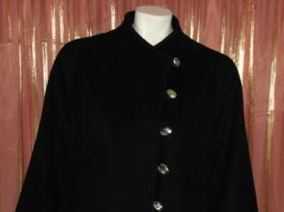 VTG Natalie Green by Bert Newman black wool coat ML