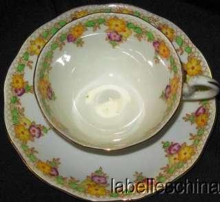 Crown China Teacup and Saucer Trellis Tea cup and Saucer   flaw
