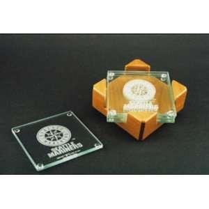 Seattle Mariners Glass Coaster Set with Alder Wood Holder