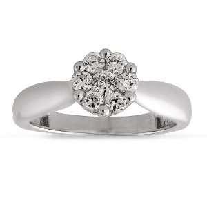 14k White Gold Diamond Engagement Ring (1/4 cttw I J Color