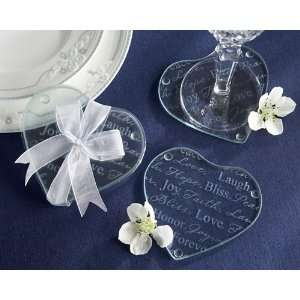 Good Wishes Heart Glass Coasters   Set of 2 Health