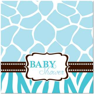 Wild Safari Blue Giraffe Baby Shower Lunch Napkins 073525924854