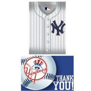 Lets Party By Amscan New York Yankees Baseball   Invite & Thank You