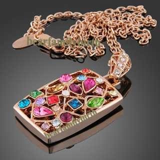 18K rose gold Gp Swarovski Crystal noblest jewelry set N51