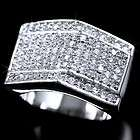 Size 8 New Mens Ring 925 Sterling Silver Gold Plated Iced Out CZ Hip