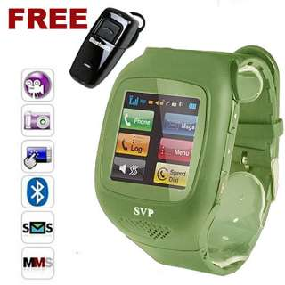 Unlocked GSM Watch Cell Phone Army Camouflage Edition//Camera