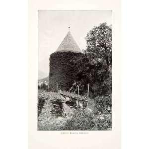 1905 Print Schloss Planta Obermais South Tyrol Italy Garden Farm