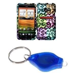 Neon Leopard Animal Print Design Hard Case + ATOM LED Keychain Light