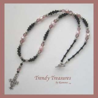Black & Pink Crystal Beaded Necklace,Celtic Cross