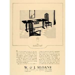 1924 Ad W.J. Sloane Jacobean Elizabethan Furniture