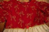 GIRLS RED VELVET GOLD GLITTER BOW NET CHRISTMAS DRESS 5