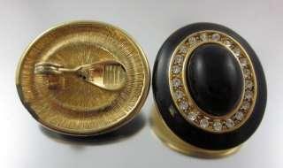 are bidding on MONET Gold Tone Black Resin Rhinestone Circle Earrings