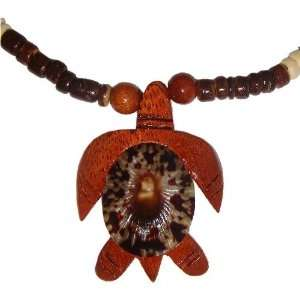 Hawaiian Opihi Shell Koa Wood Honu Turtle Coconut Bead Necklace