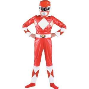 Deluxe Muscle Chest Red Kids Power Rangers Costume: Toys