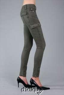 MISS ME Jeans NWT Gunmetal Cargo Skinny Pants Khaki 26
