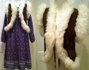 VTG 70s RARE MINT BOHO HIPPIE SHEEP FUR SUEDE LEATHER DEER SKIN