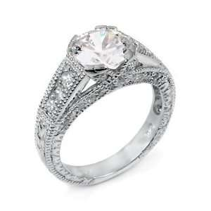 Sterling Silver Engagement Ring with High Quality Cubic Zirconia