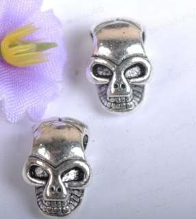 FREE SHIP 18pcs Tibetan silver horrific skull charm spacer beads BE809