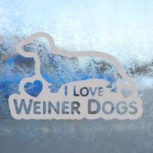 I Love Weiner Dogs Gray Decal Car Truck Window Gray