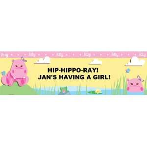 Hippo Pink Baby Shower Personalized Banner Large 30 x 100